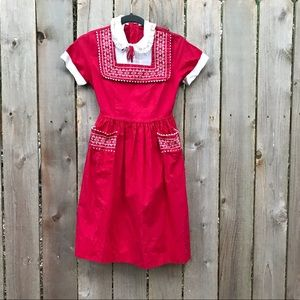 Vintage red dirndl school girl supermarket dress